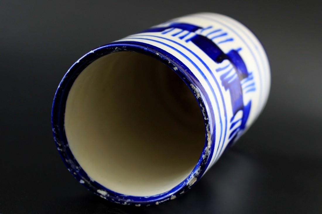 Vintage Blue & White Brush Stroke Ceramic Vase - 4