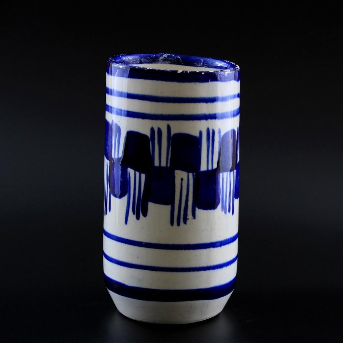 Vintage Blue & White Brush Stroke Ceramic Vase - 5