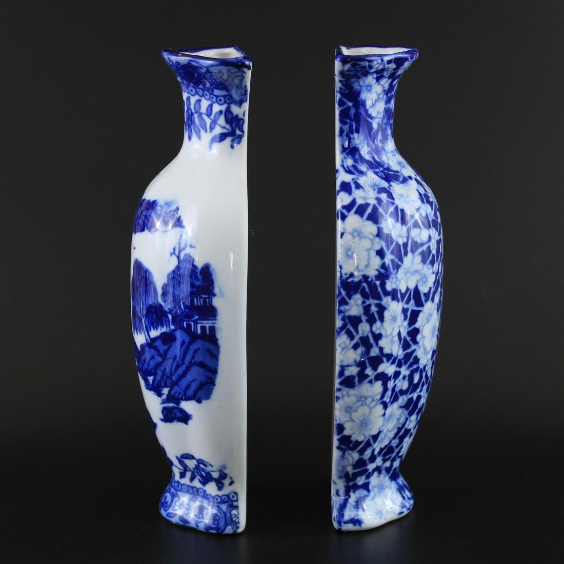 2 Vintage Chinese Blue & White Porcelain Wall Vases - 2