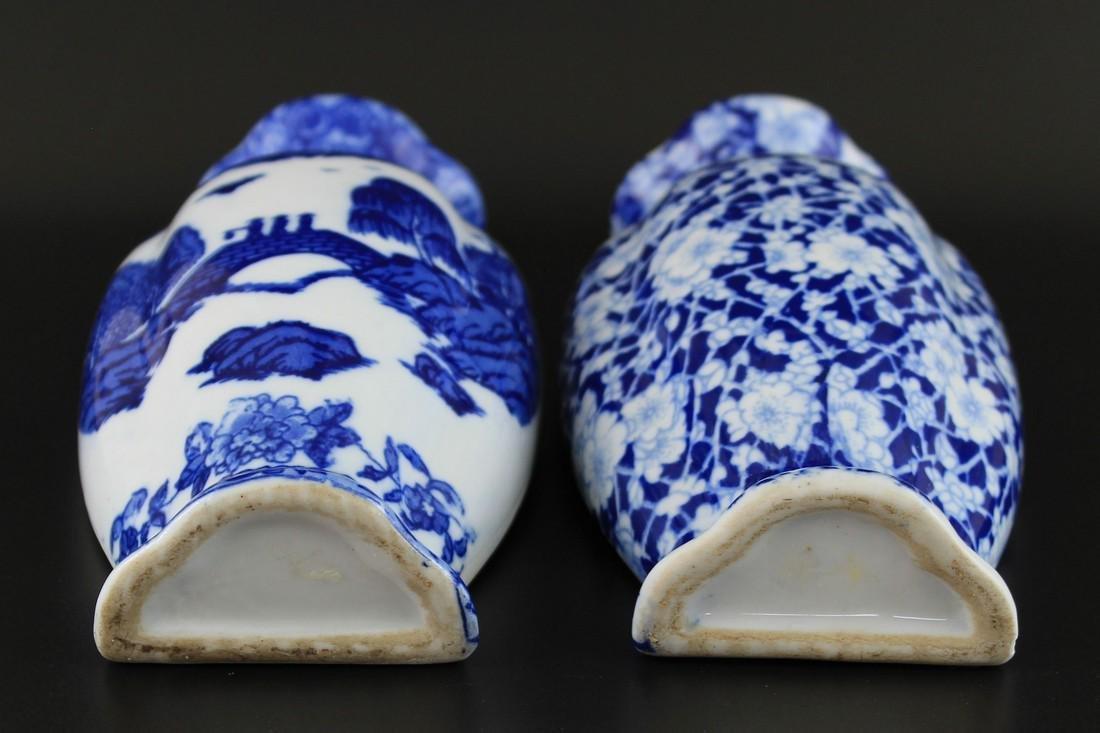 2 Vintage Chinese Blue & White Porcelain Wall Vases - 3