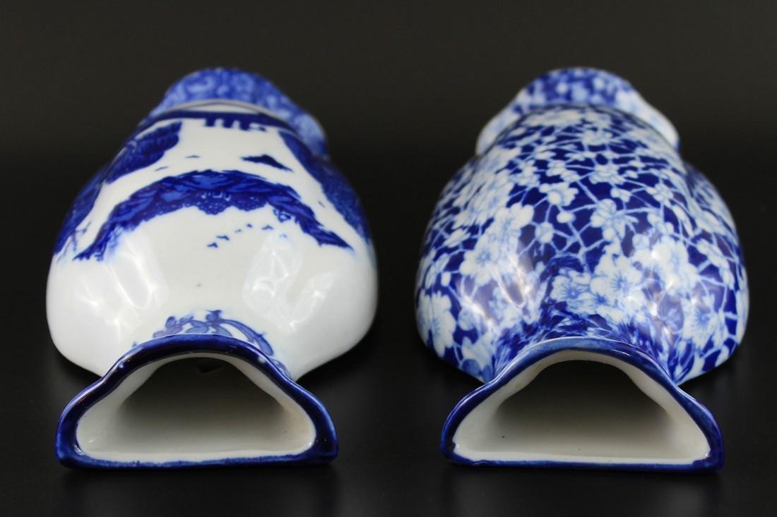 2 Vintage Chinese Blue & White Porcelain Wall Vases - 4