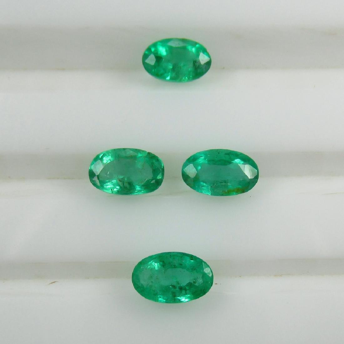 1.00 Ct Genuine 3 Loose Zambian Emerald Matching Oval