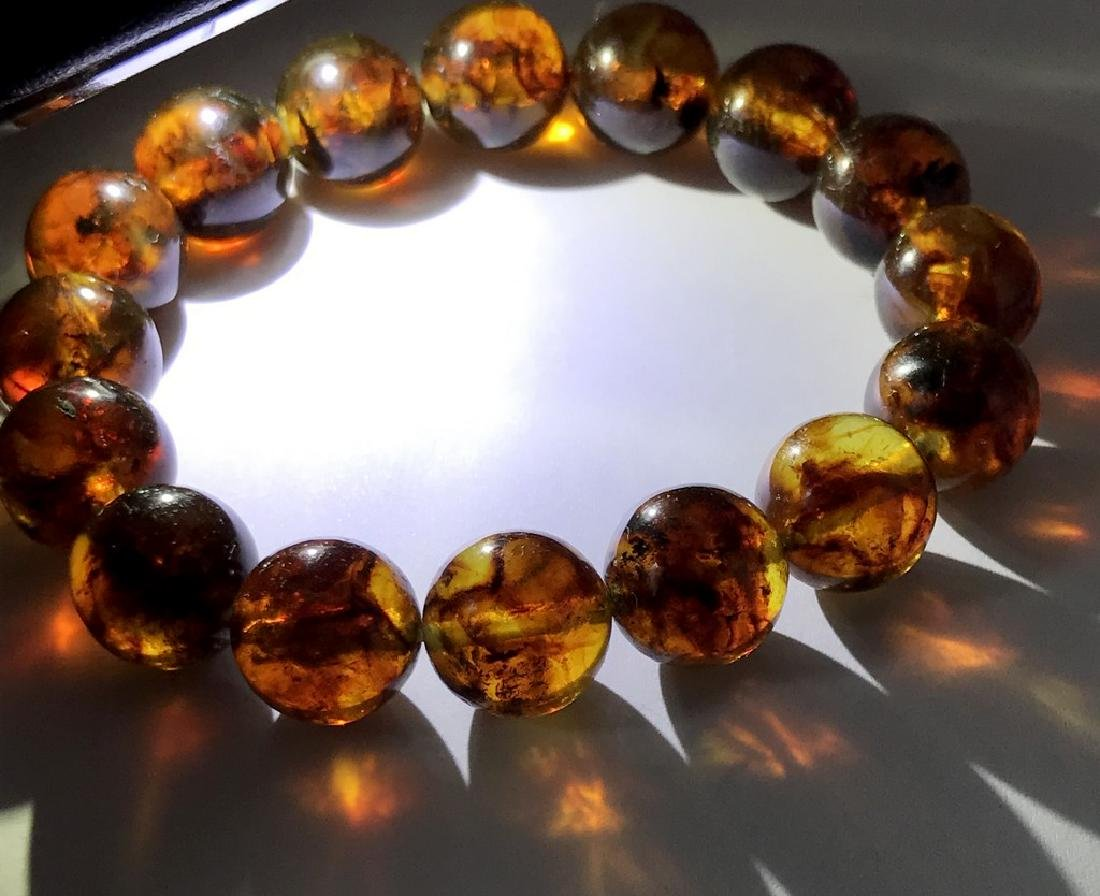 Baltic Amber Bracelet Cognac Marble Colour Beads - 5