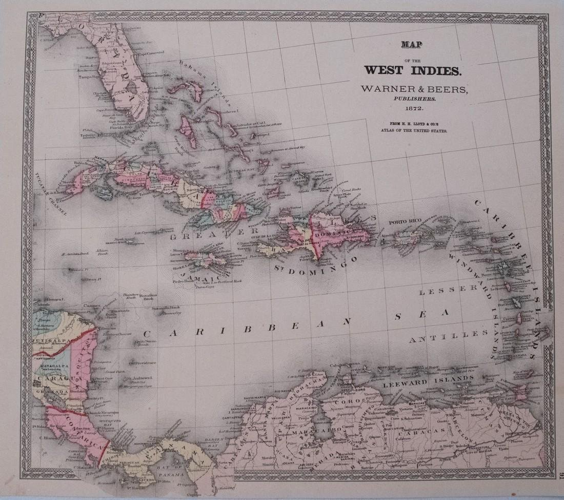 1872 Warner & Beers Map of the Caribbean -- Map of the
