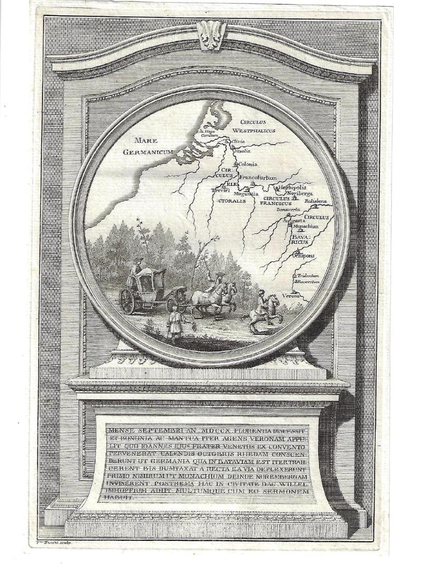 1740 Engraving Zucchi Map Westphalia