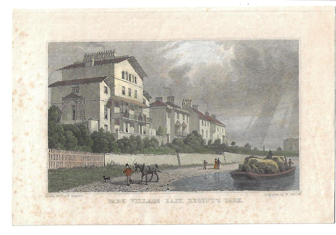 19th C Handcolored Engraving Park Village East