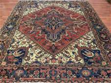 Semi Antique Persian Square Heriz Rug 7x8.5