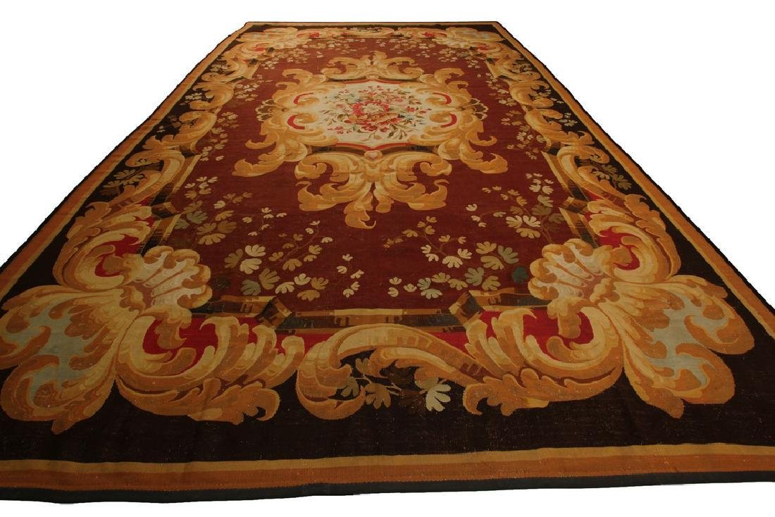 Amazing Antique French CharlesxAubusson Rug  9.x13.6