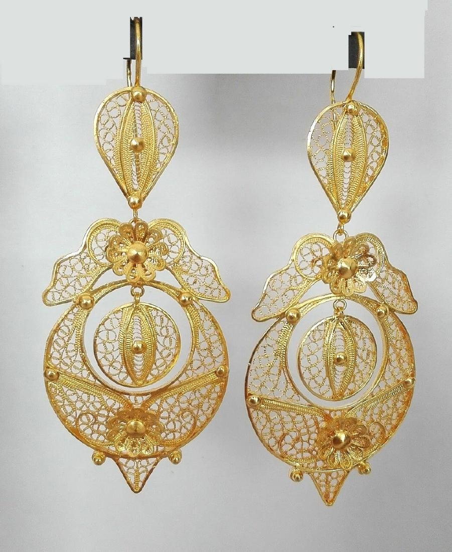 Earrings gold 19.2 carats 800/1000 hand-worked in