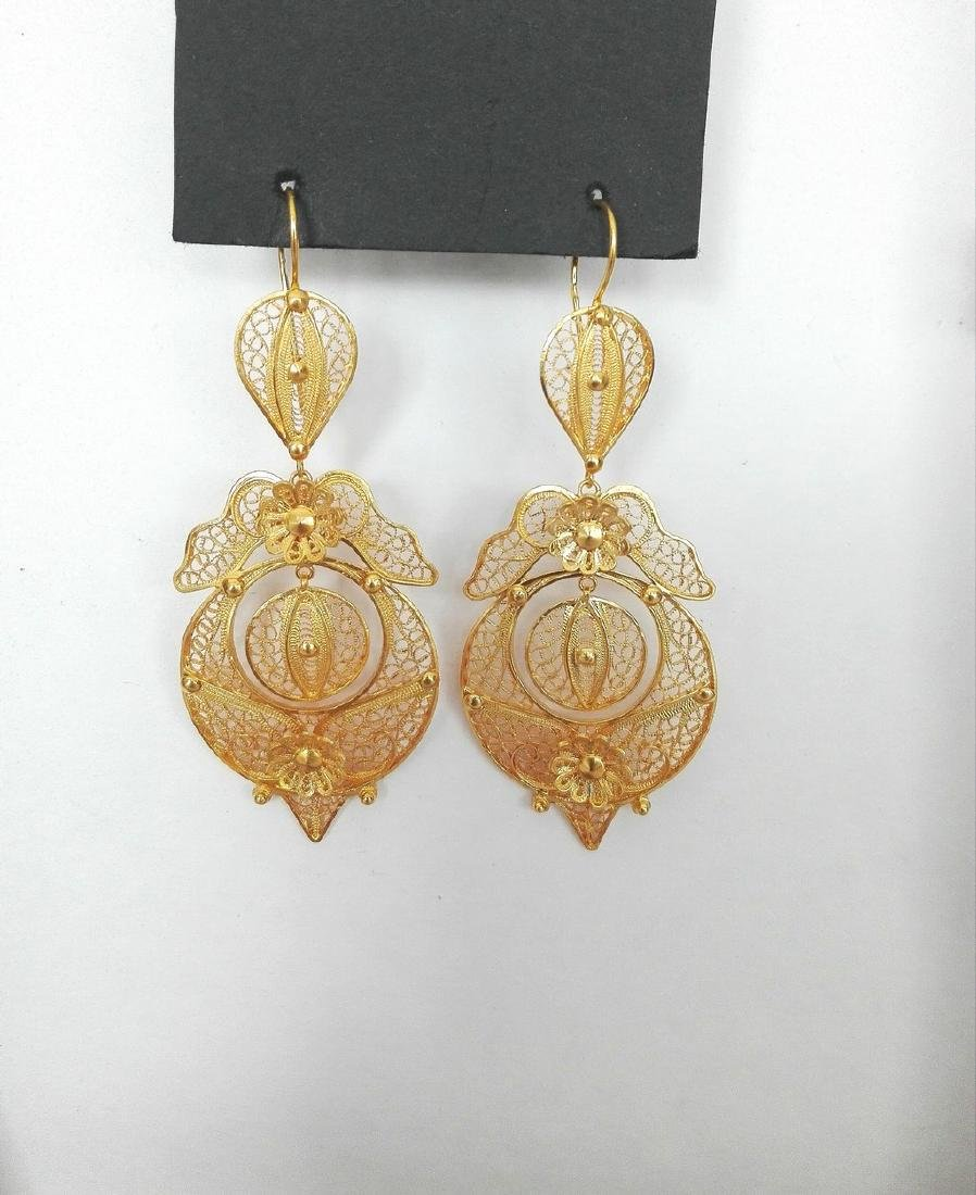 Earrings gold 19.2 carats 800/1000 hand-worked in - 6