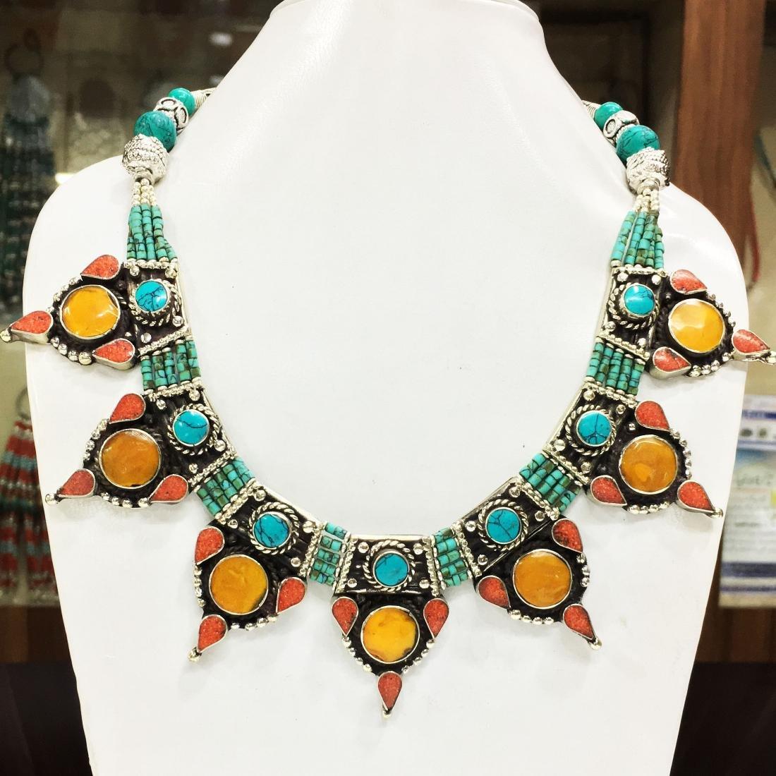 Nepalese Handmade Tibetan Turquoise & Coral Bold