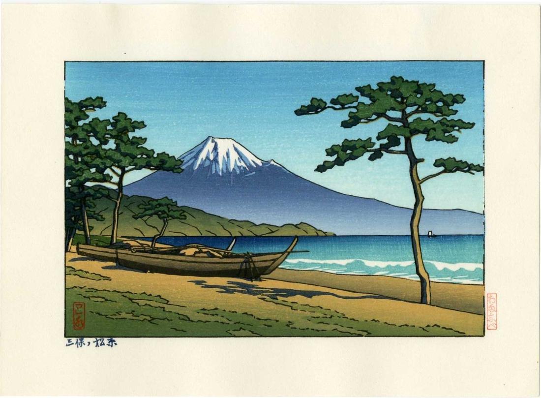 Hasui Kawase Woodblock  Mt. Fuji from Miho no Matsubara