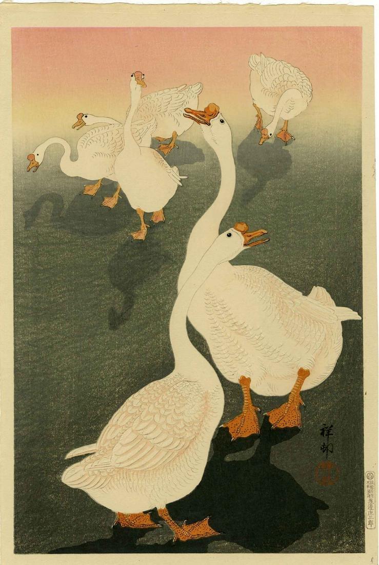 Koson Ohara Woodblock  Six Domestic Geese at Sunset