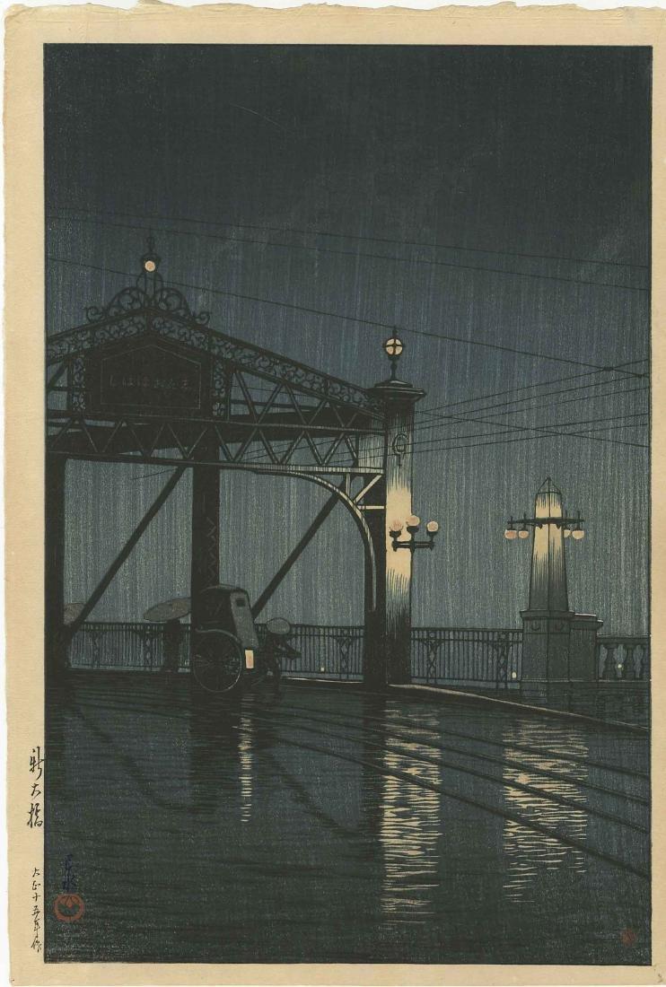 Kawase Hasui Woodblock  Night Rain on Shinobashi