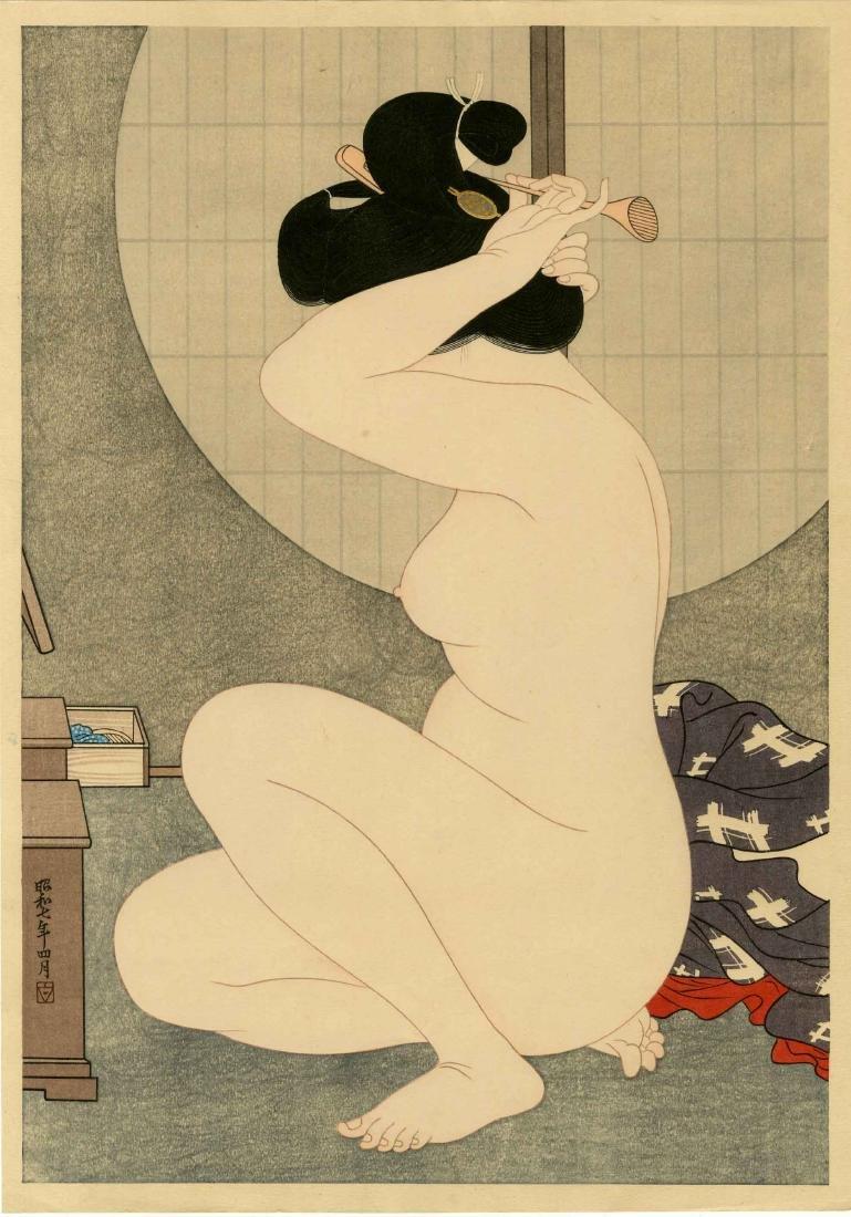 Hirano Hakuho Woodblock  Arranging Her Hair