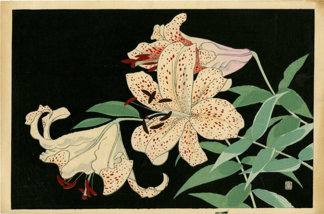 Tokuriki Tomikichiro Woodblock  Tiger Lilies