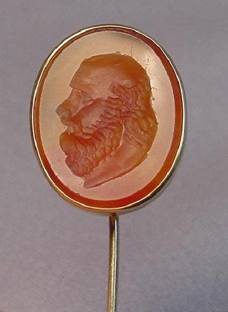 Antique Carnelian Intaglio 14k Stick Pin Man With Beard - 2