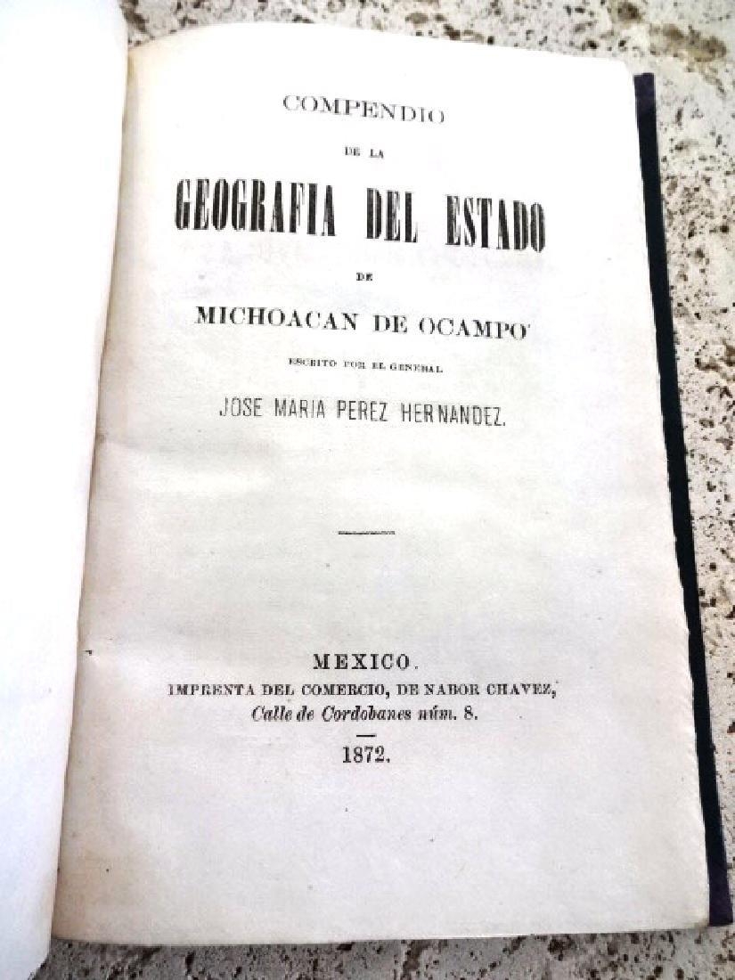 1872 Compendio De La Geografia Del Estado De Michoacan