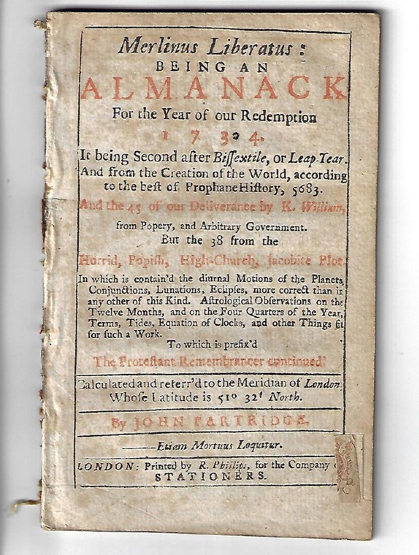 1734 English Almanac Merlinus Liberatus