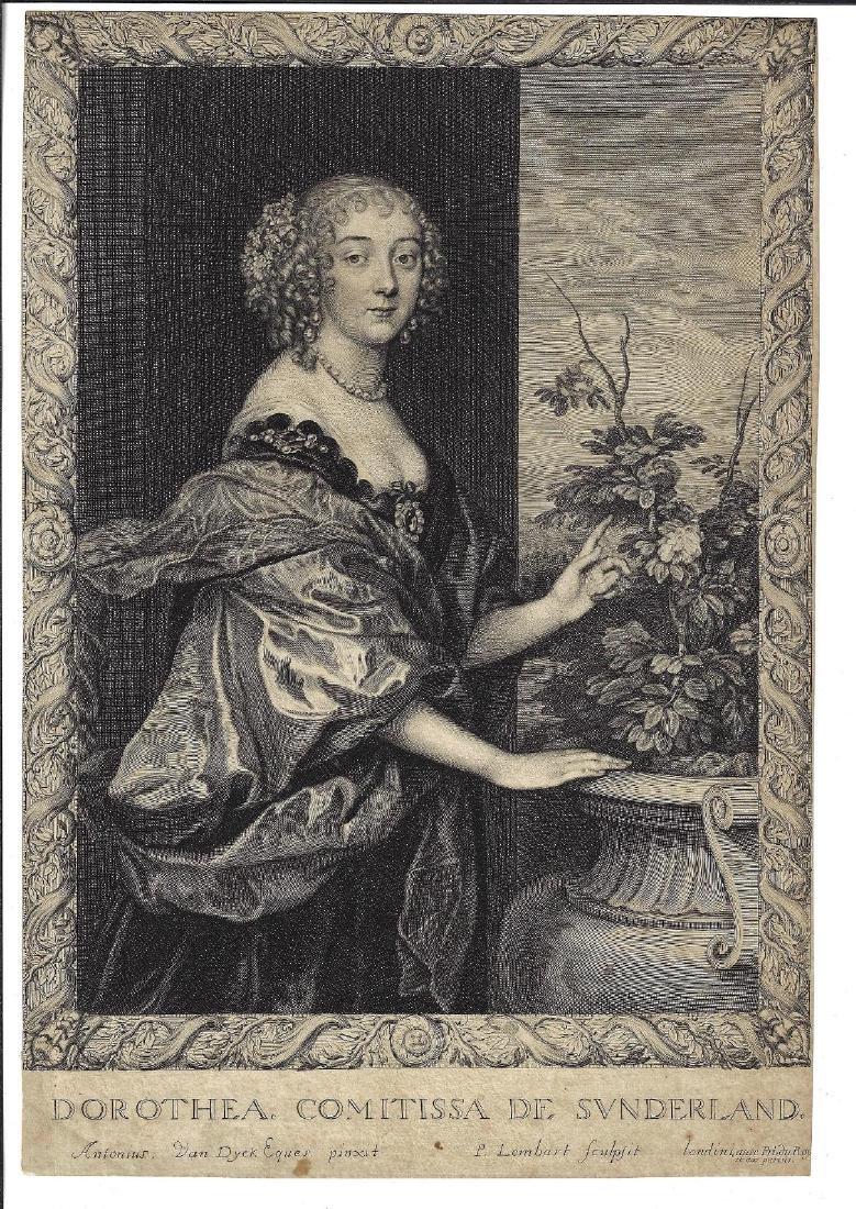 1660 Van Dyck Engraving Dorothea Comitissa De