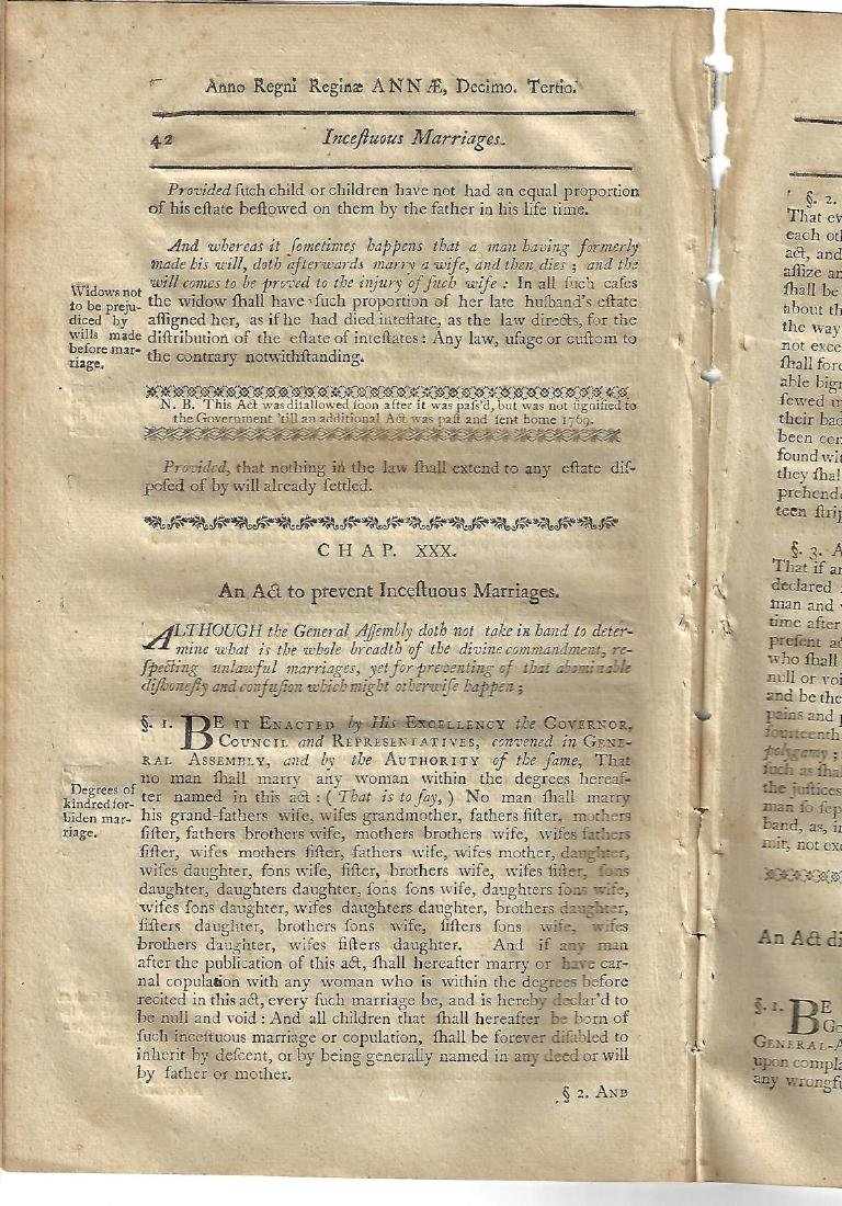 1771 Colonial Laws New Hampshire Dowers Incest