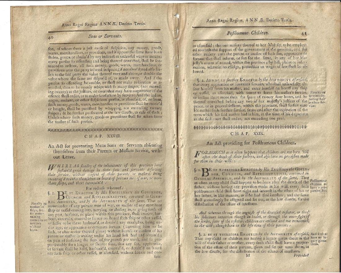 1771 Colonial Laws New Hampshire Dowers Incest - 2