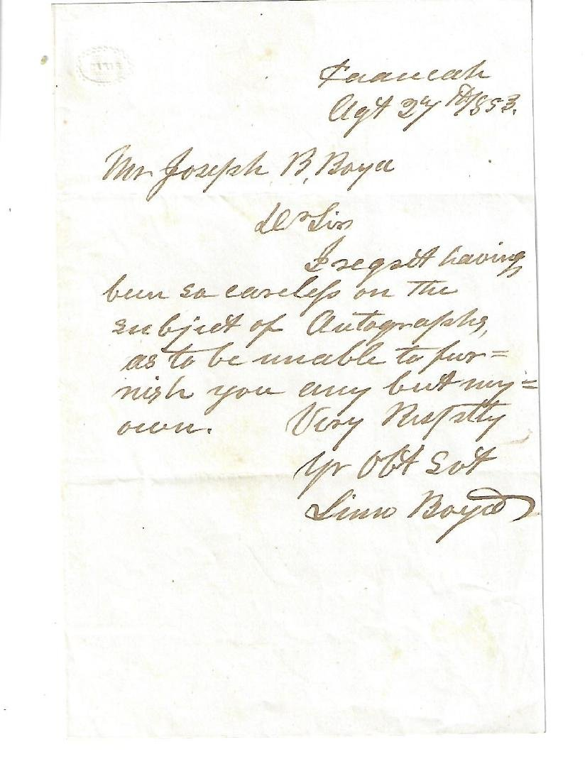 Autograph Note Signed of Linn Boyd Kentucky