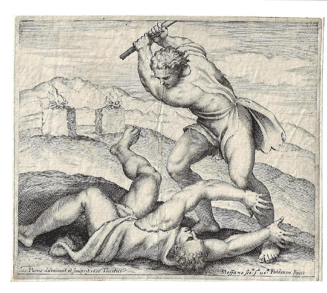 1656 Fine Piccini Engraving Cain and Abel