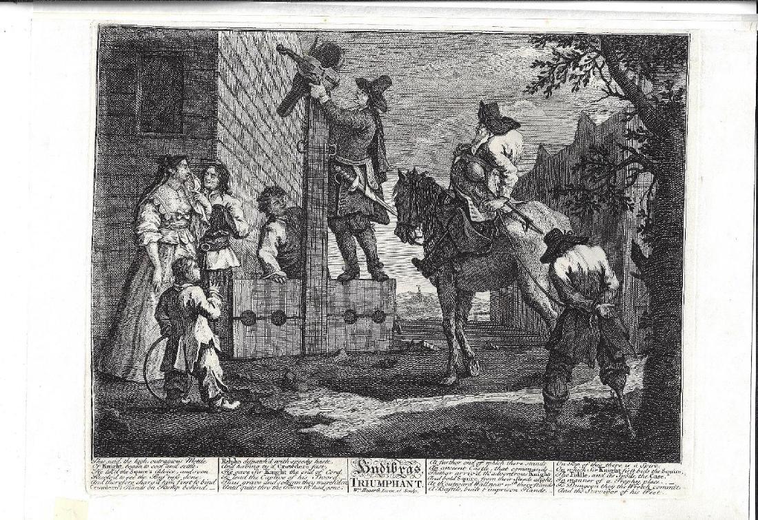 19th C Hogarth Engraving Triumphant Hudibras