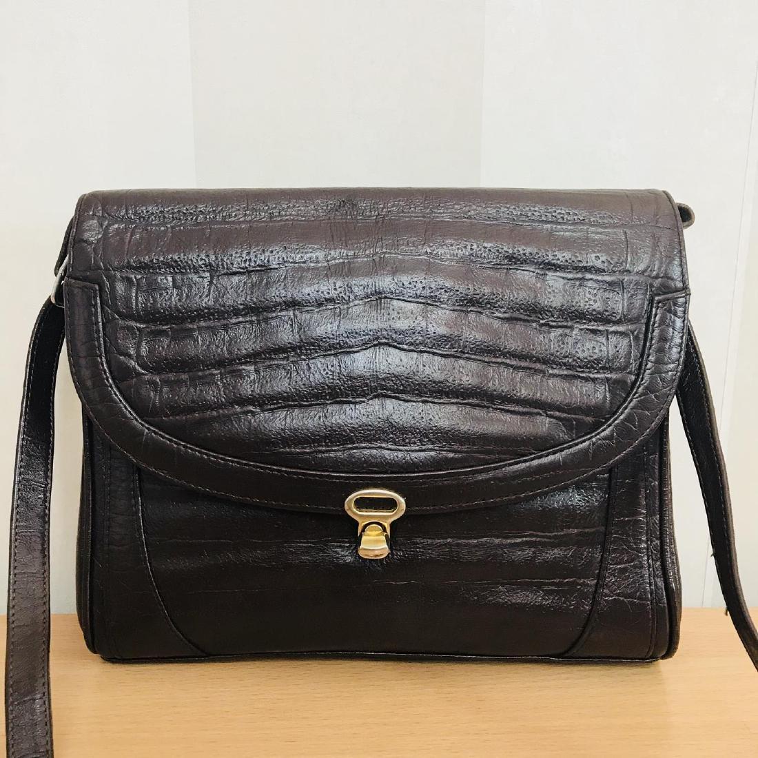 Vintage Crocodile Imitation Leather Shoulder Bag