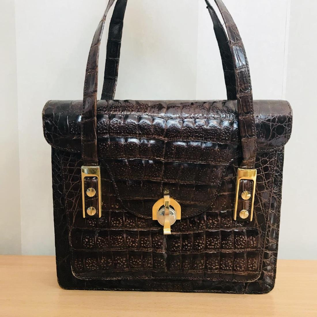 Vintage Genuine Crocodile Leather Handbag