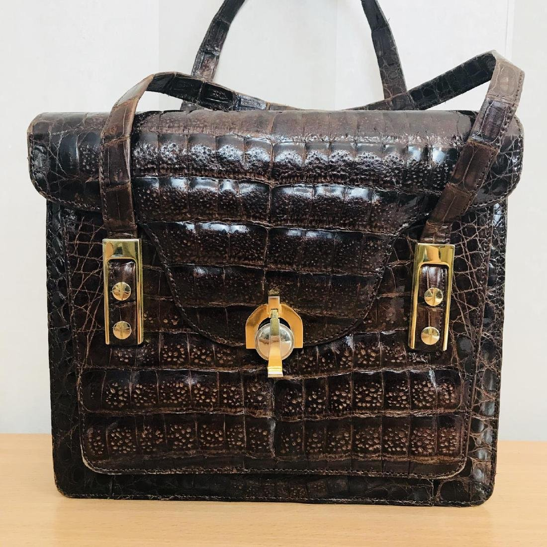 Vintage Genuine Crocodile Leather Handbag - 2