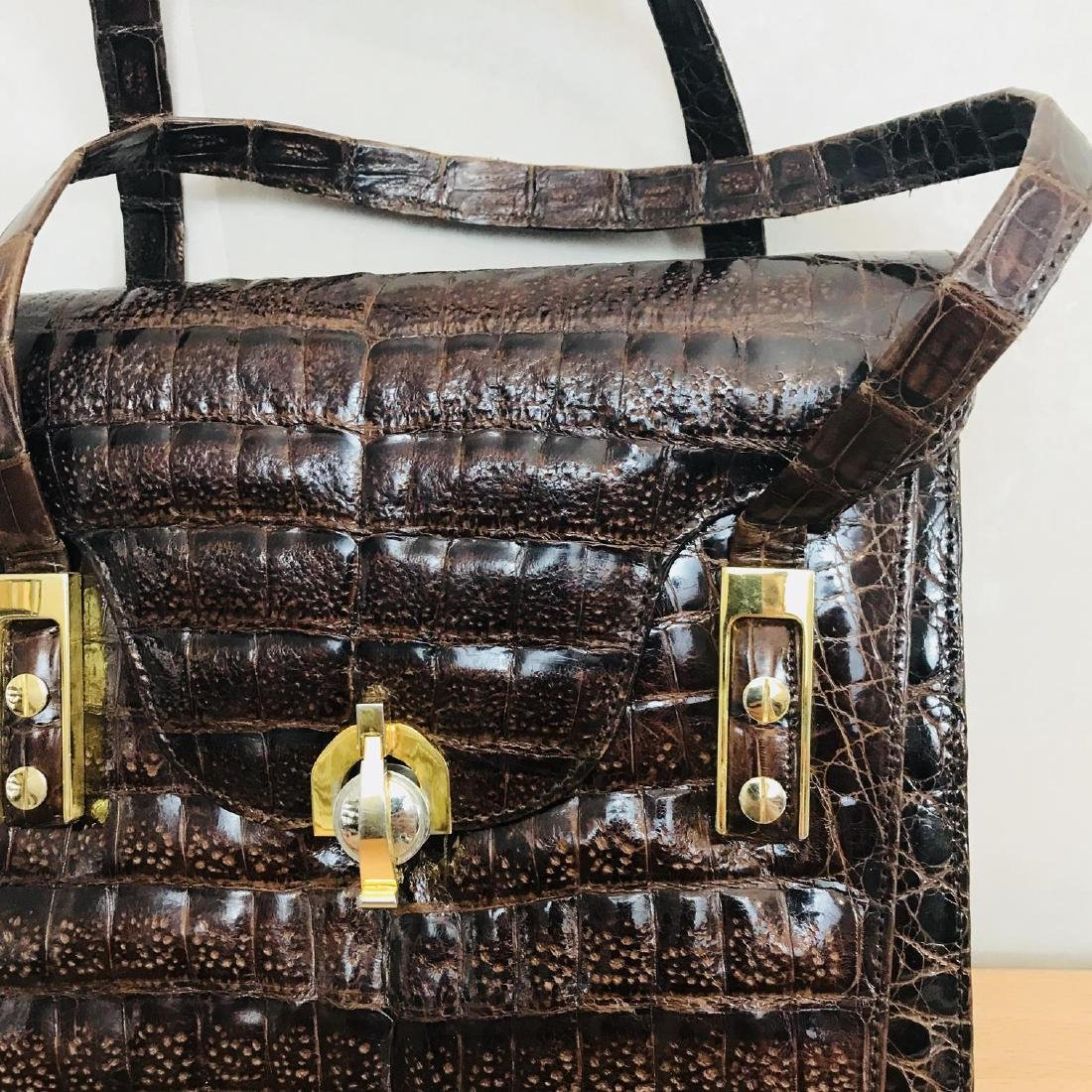 Vintage Genuine Crocodile Leather Handbag - 3