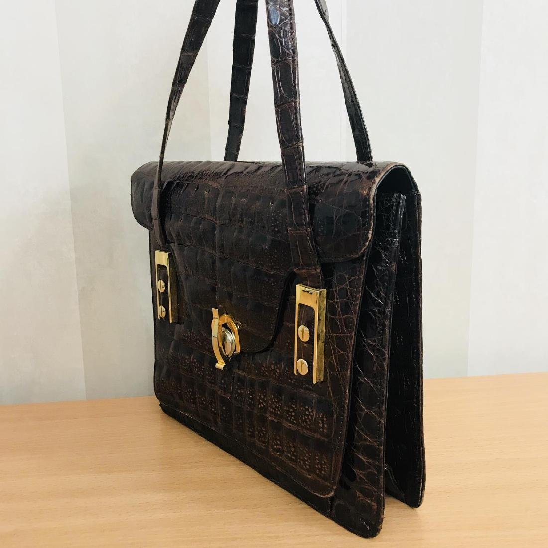 Vintage Genuine Crocodile Leather Handbag - 5