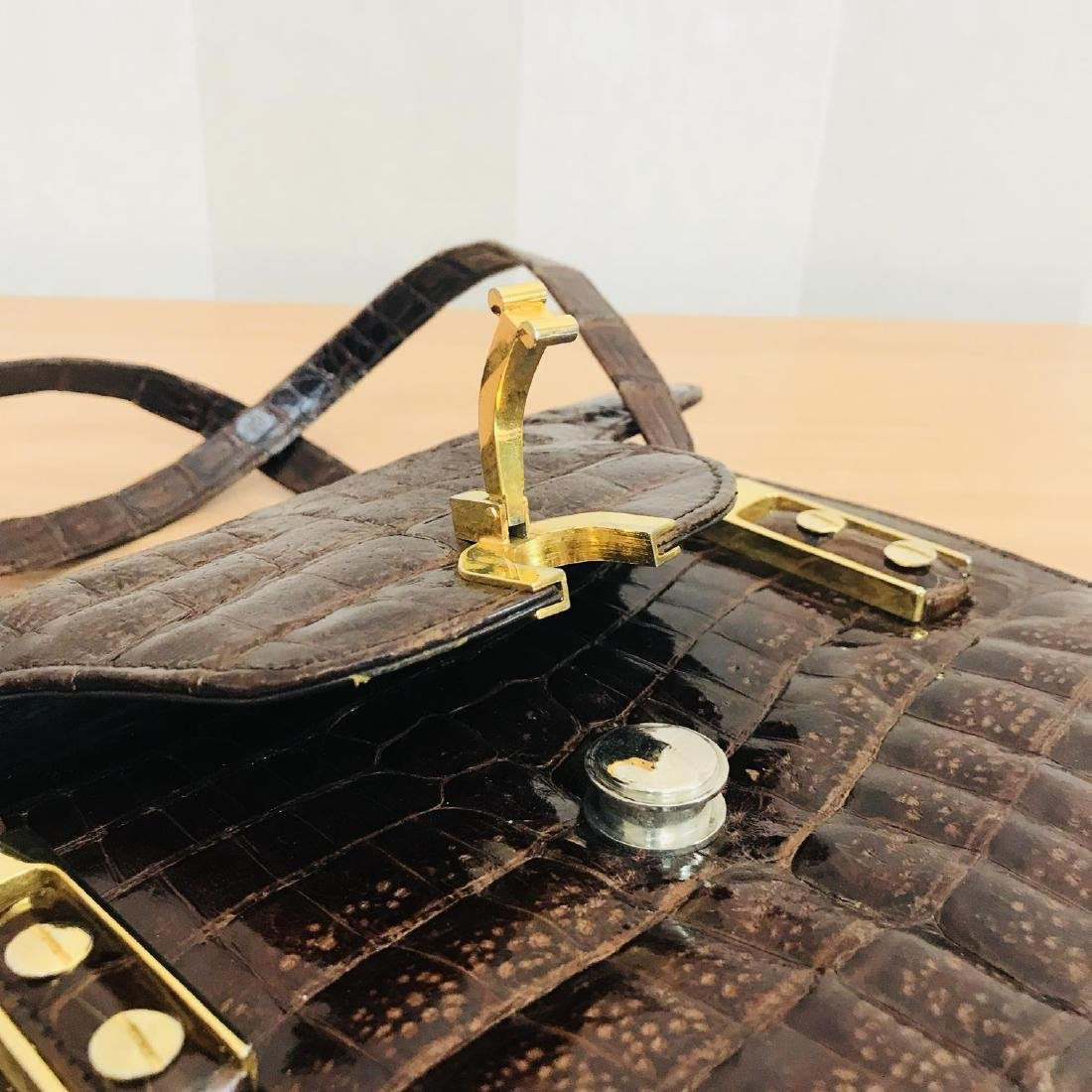 Vintage Genuine Crocodile Leather Handbag - 6