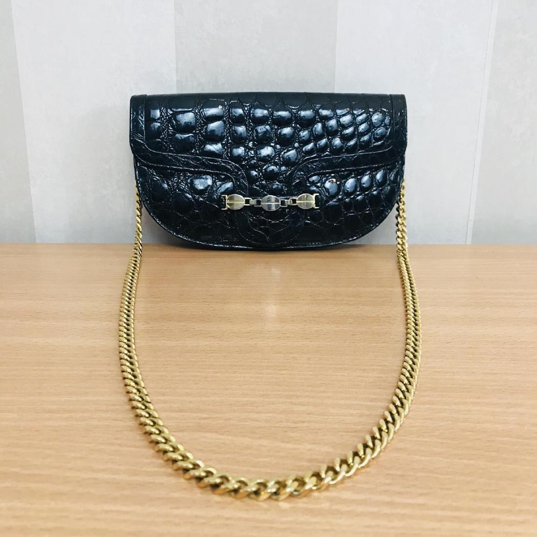 Vintage Crocodile Imitation Leather Clutch Bag
