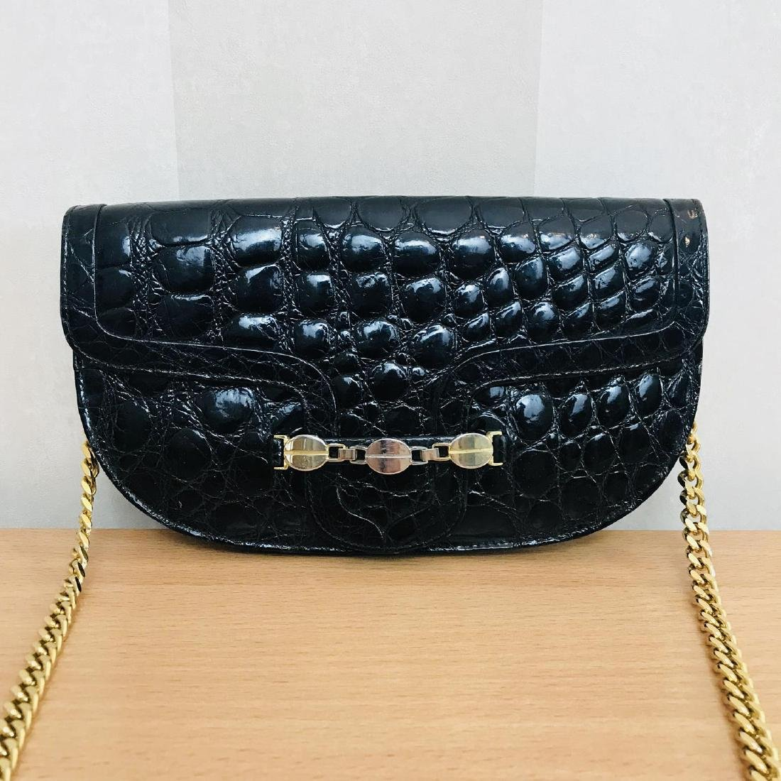 Vintage Crocodile Imitation Leather Clutch Bag - 2