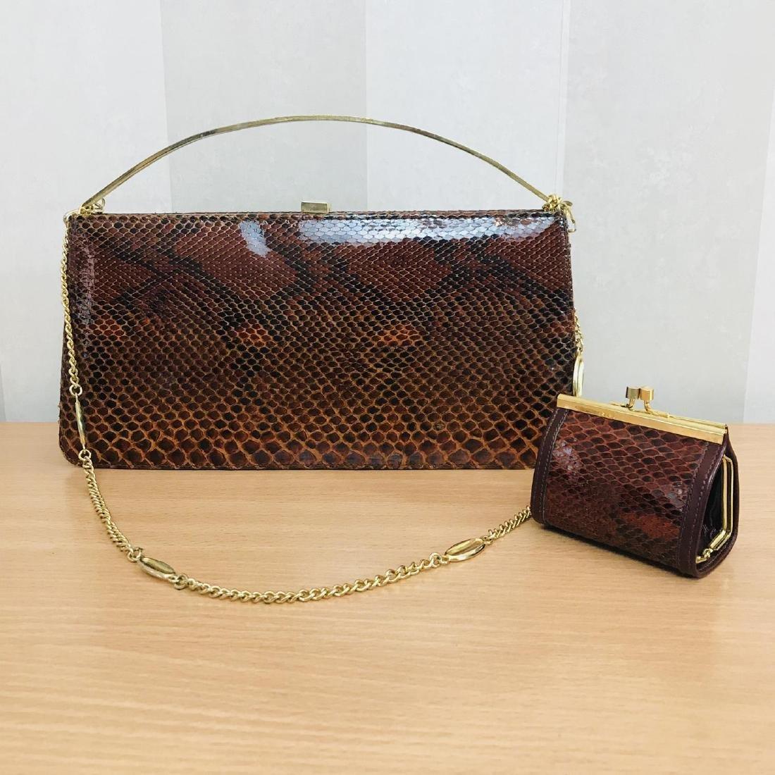 Vintage Genuine Snake Skin Leather Clutch Bag Handbag