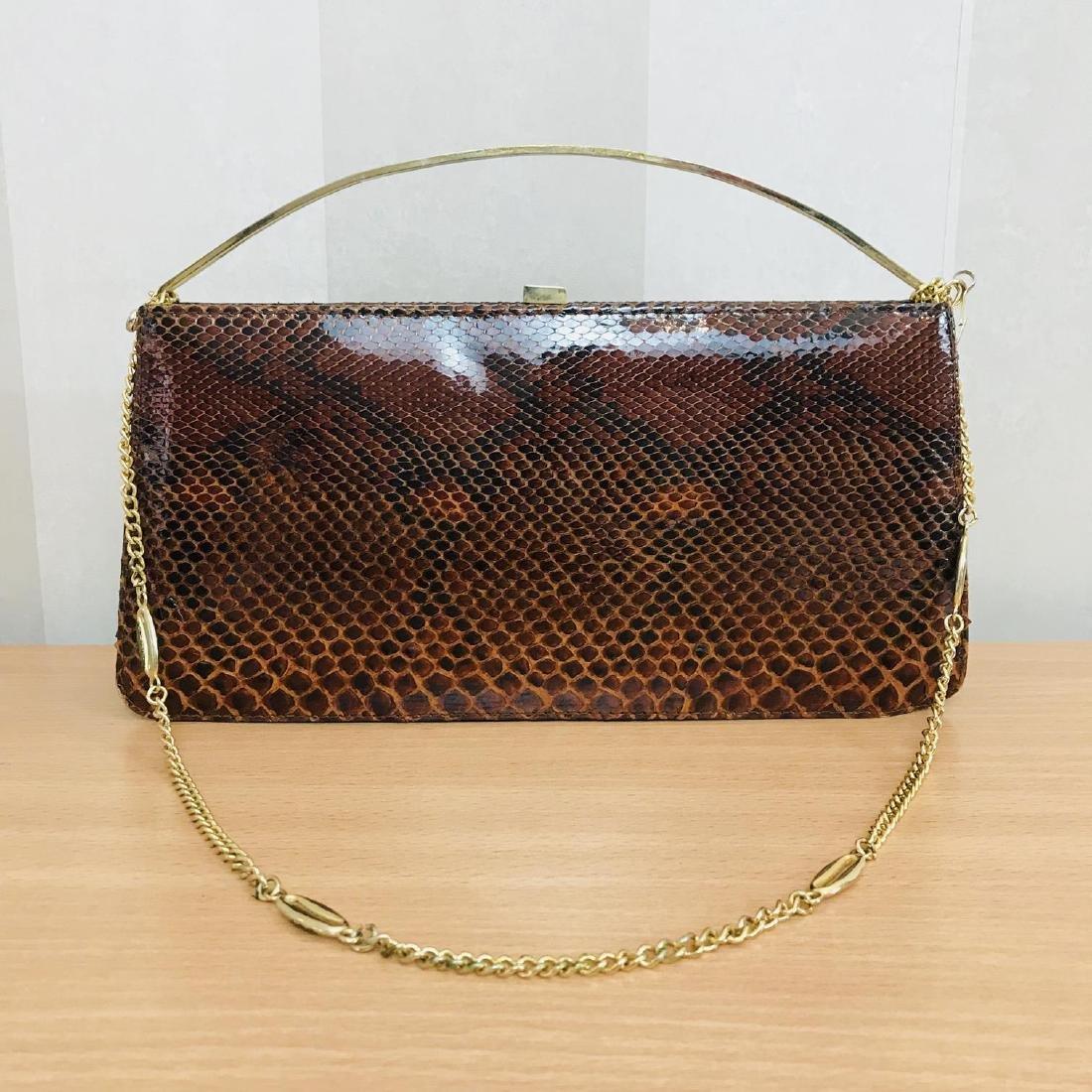 Vintage Genuine Snake Skin Leather Clutch Bag Handbag - 2