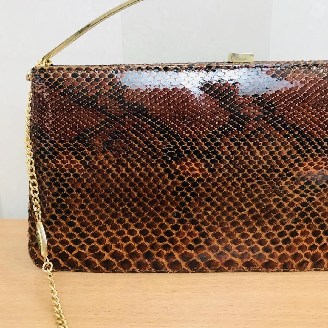 Vintage Genuine Snake Skin Leather Clutch Bag Handbag - 3