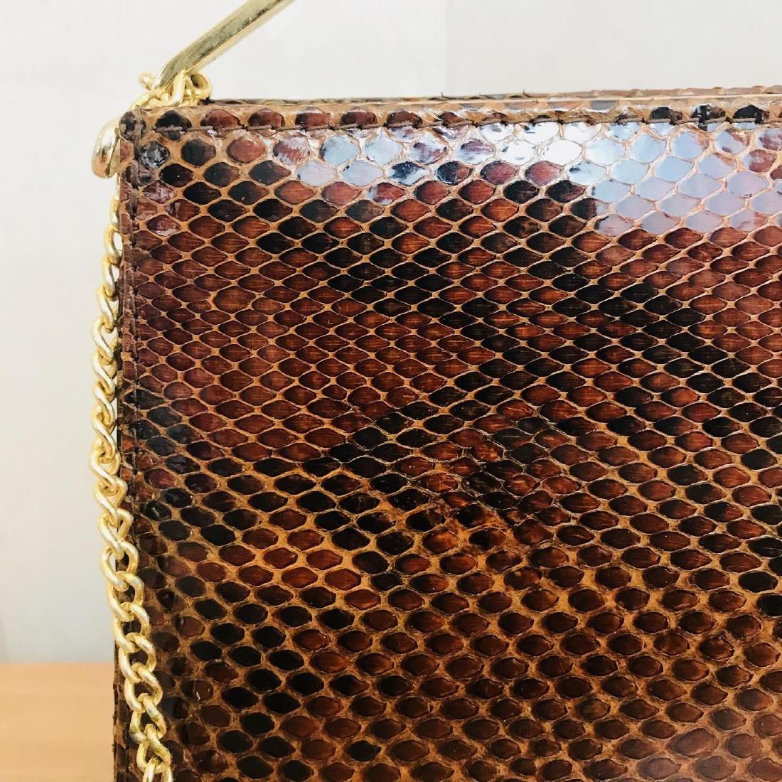 Vintage Genuine Snake Skin Leather Clutch Bag Handbag - 4