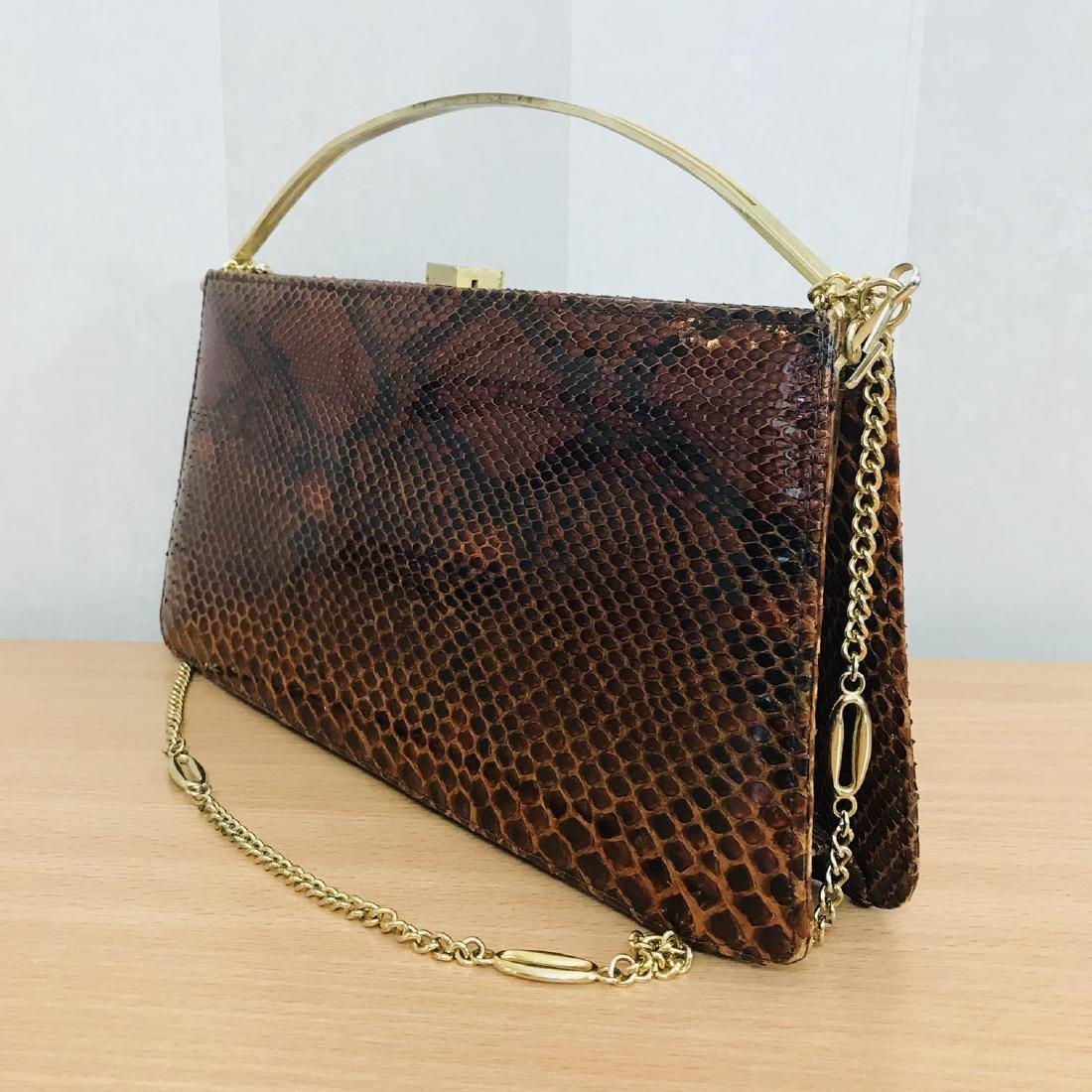 Vintage Genuine Snake Skin Leather Clutch Bag Handbag - 5