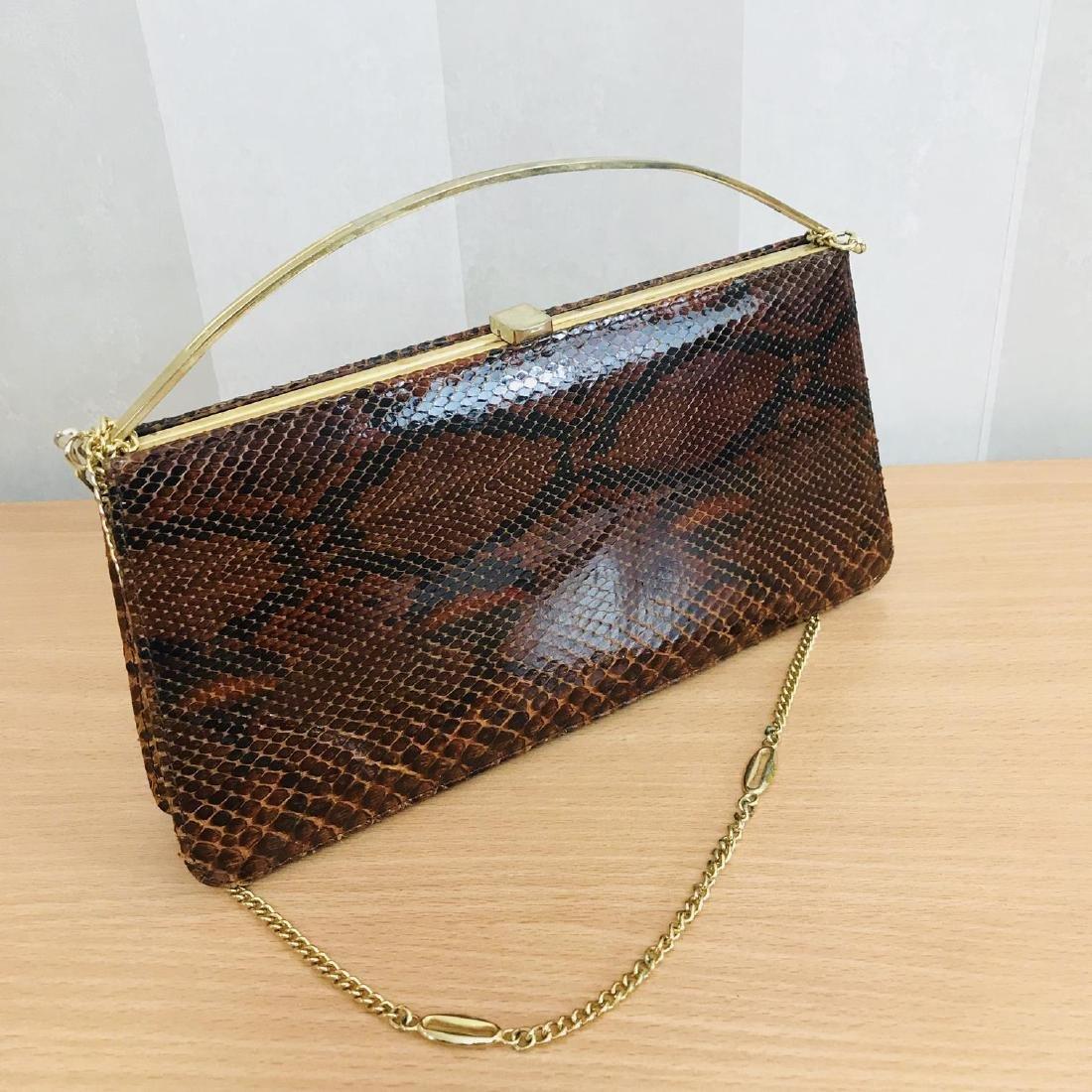 Vintage Genuine Snake Skin Leather Clutch Bag Handbag - 6