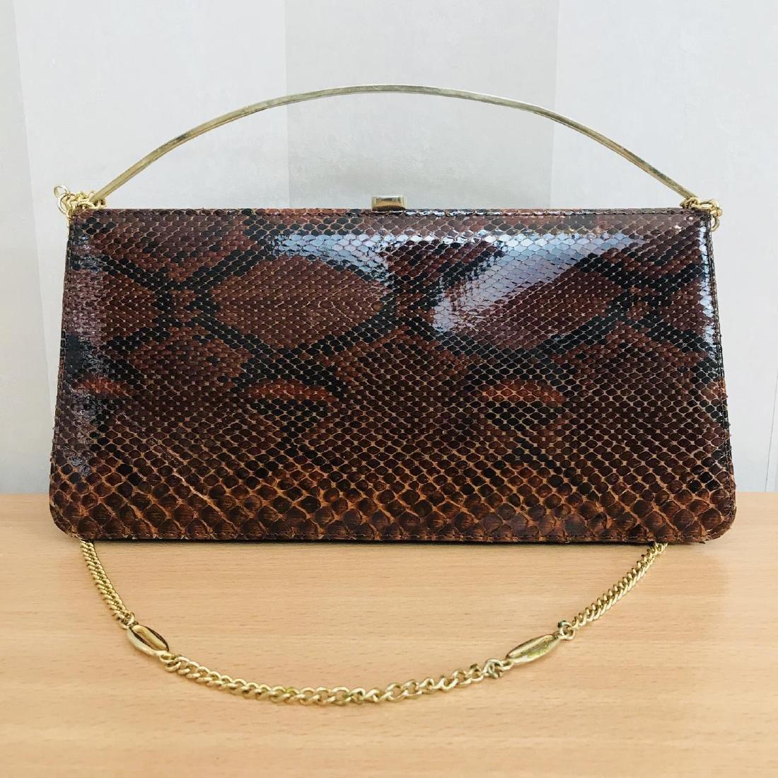 Vintage Genuine Snake Skin Leather Clutch Bag Handbag - 7