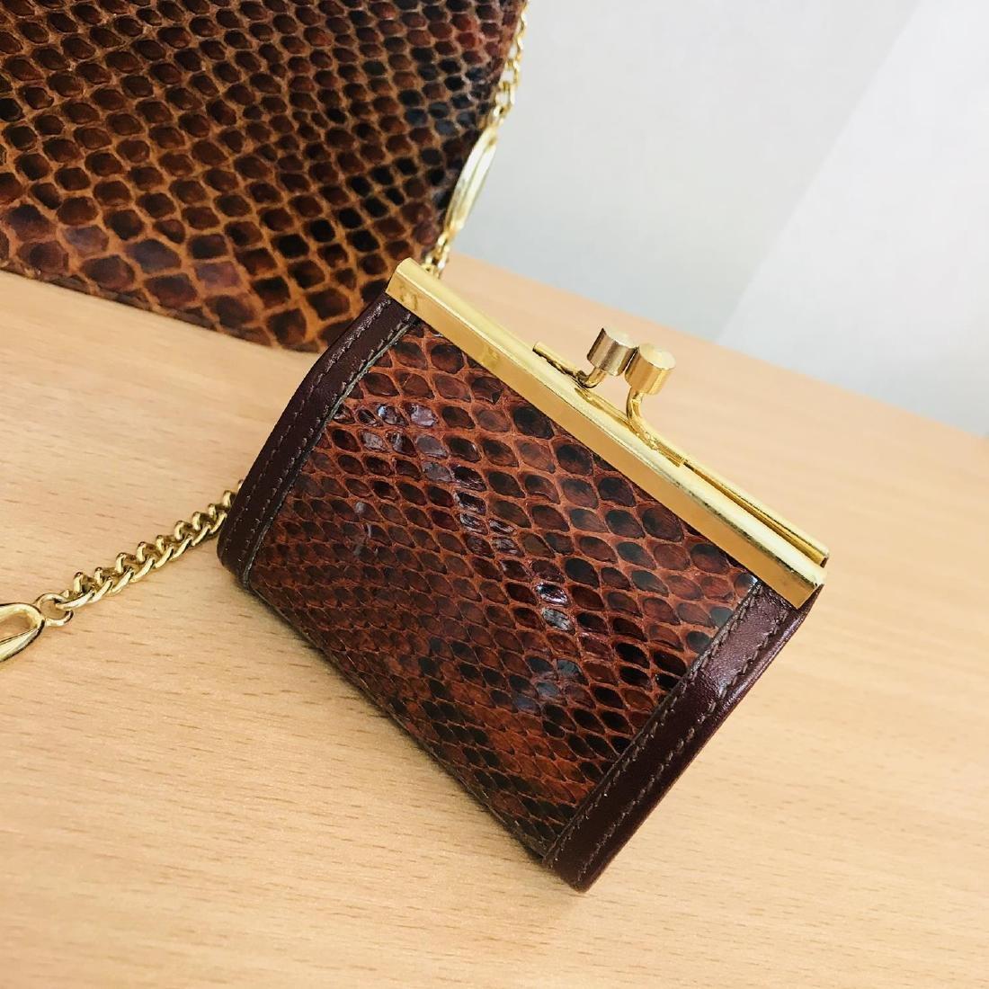 Vintage Genuine Snake Skin Leather Clutch Bag Handbag - 8