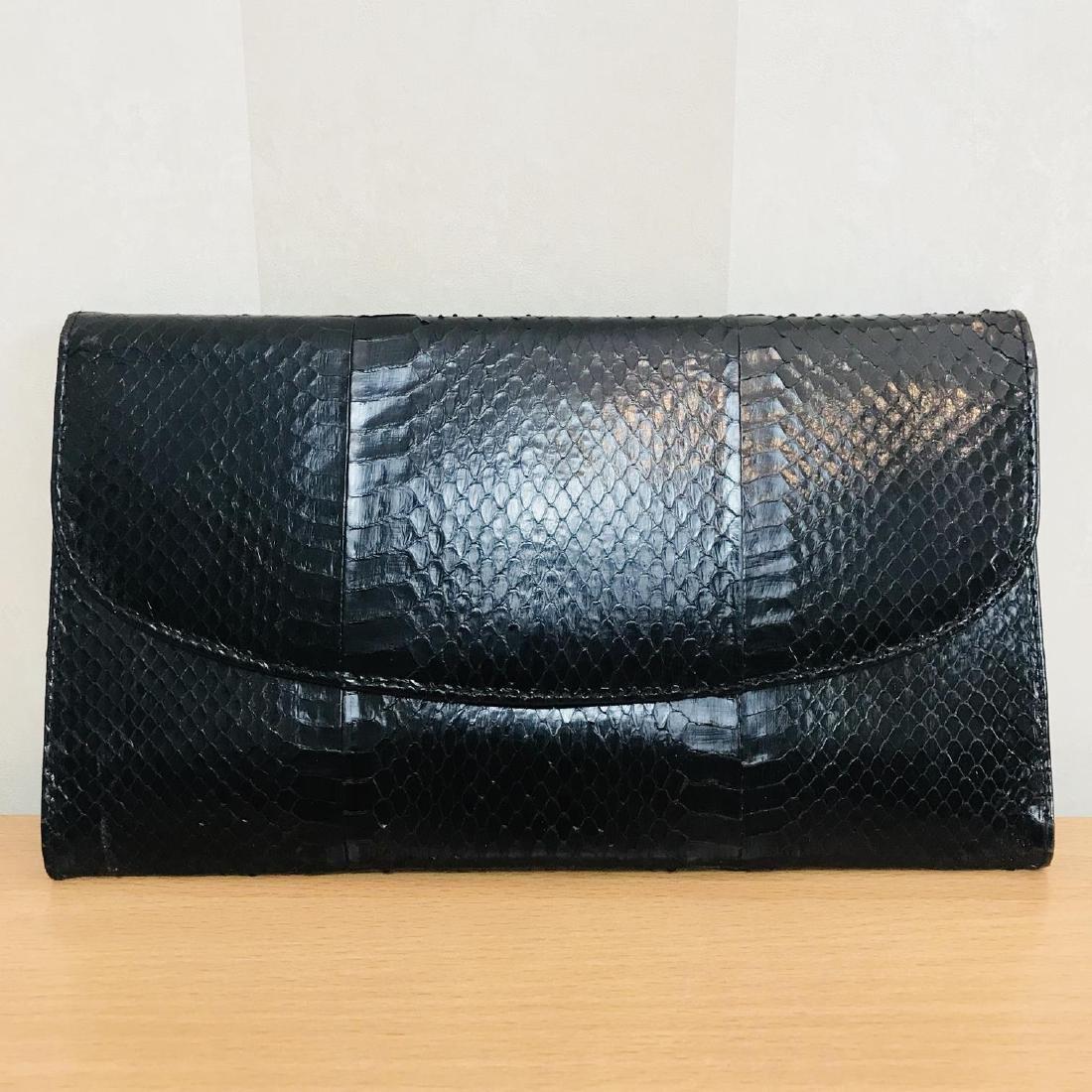 Vintage Genuine Snake Skin Leather Clutch Bag
