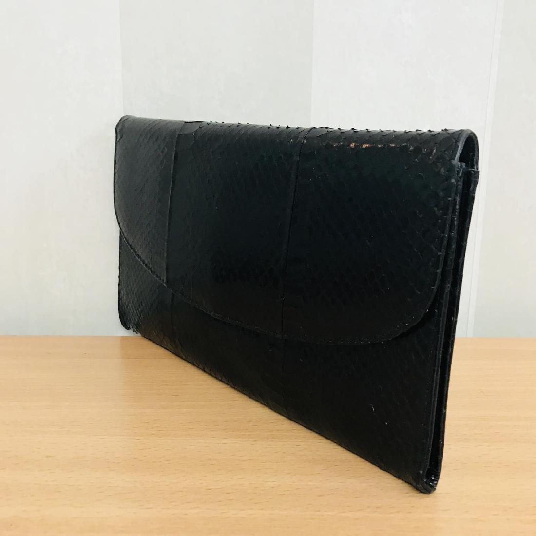 Vintage Genuine Snake Skin Leather Clutch Bag - 2
