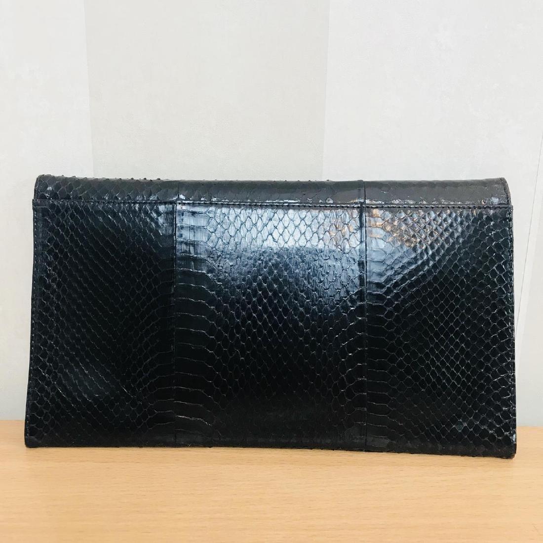 Vintage Genuine Snake Skin Leather Clutch Bag - 3