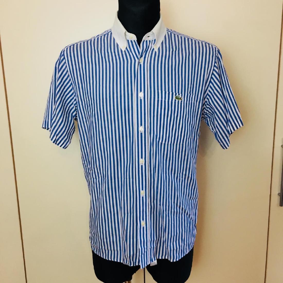 Men's Lacoste Blue Striped Short Sleeve Shirt Size 39 /