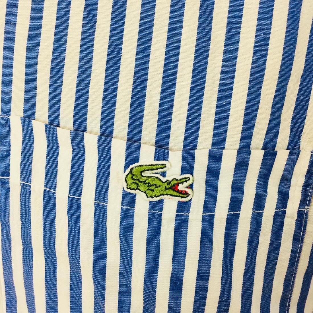 Men's Lacoste Blue Striped Short Sleeve Shirt Size 39 / - 2